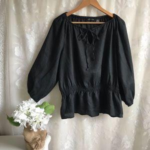 Ava & Grace 100% Linen Black Top Long Sleeve XL